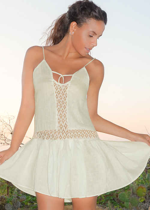 A Mere Co Resort Ivory Lace Thin Strap Sun Dress
