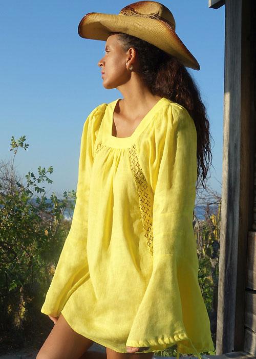 A Mere Co Resort Capri Lemoncello Lace Insert Dress