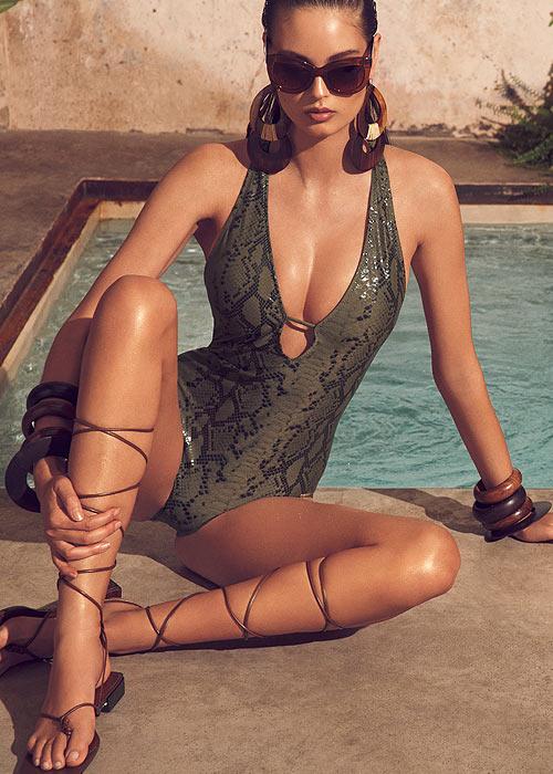 Dolores Cortes Snakeskin Plunge Swimsuit