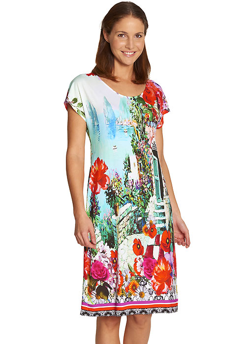 Feraud Landscape Short Sleeve Sun Dress