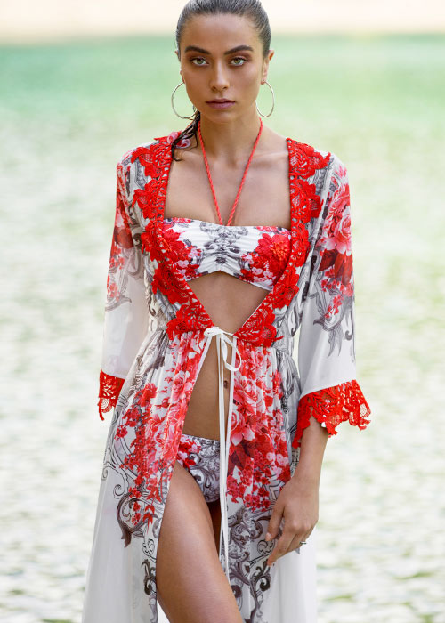 Forever Unique matching halter bandeau bikini and kimono