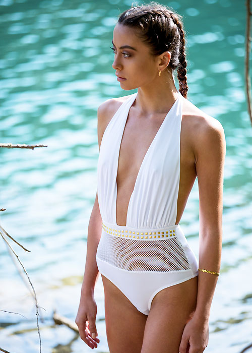 Forever Unique Cuba Mesh Plunge Swimsuit