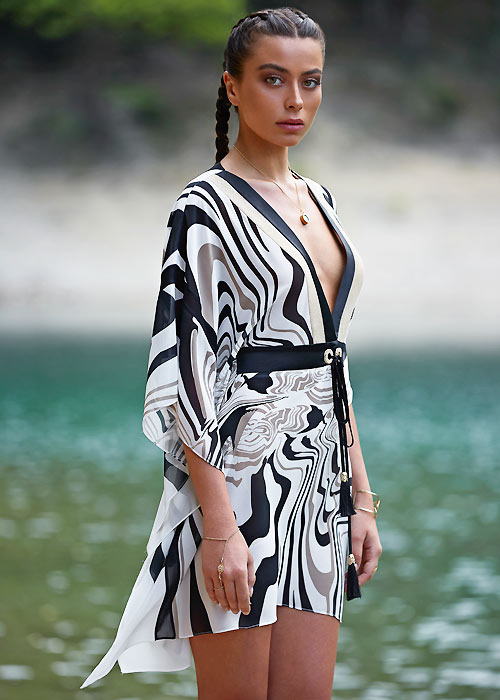 Forever Unique Panama Monochrome Short Kaftan