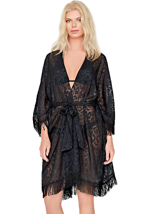 Gottex Black Diamond Open Kimono With Belt