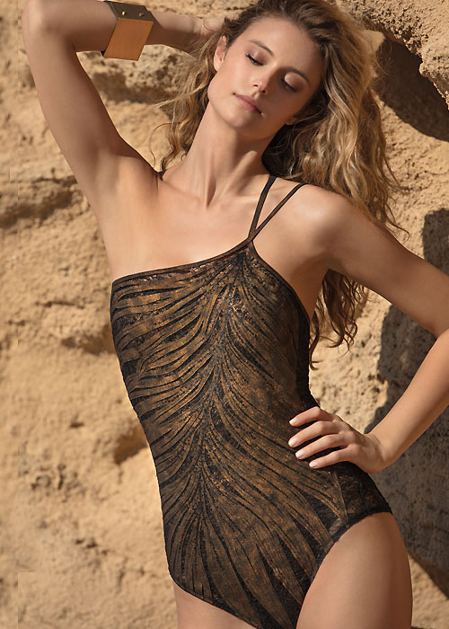 Gottex Couture Coastal Bronze One Shoulder Swimsuit