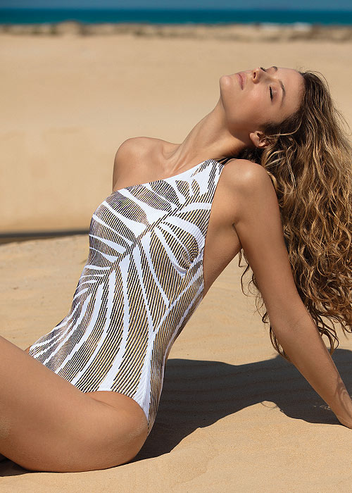 Gottex Couture Golden Sand One Shoulder Swimsuit