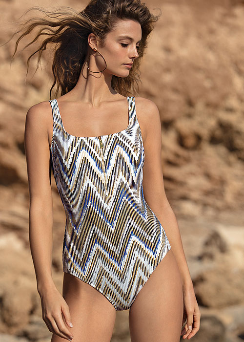 Gottex Couture Golden Sand Square Neck Tank Swimsuit