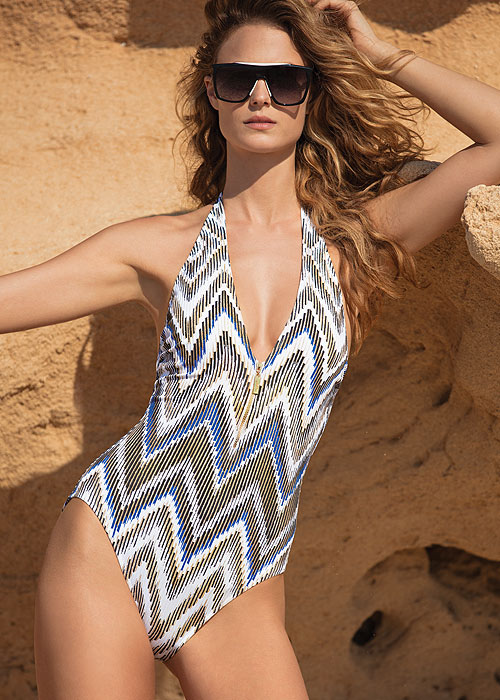 Gottex Couture Golden Sand V Neck Halter Swimsuit