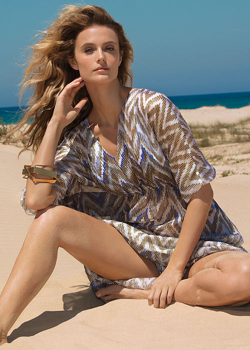 Gottex Couture Golden Sand V Neck Kaftan