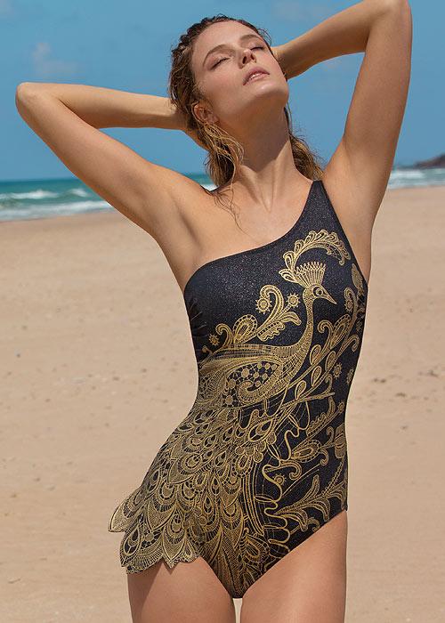 Gottex Couture Golden Treasure One Shoulder Swimsuit