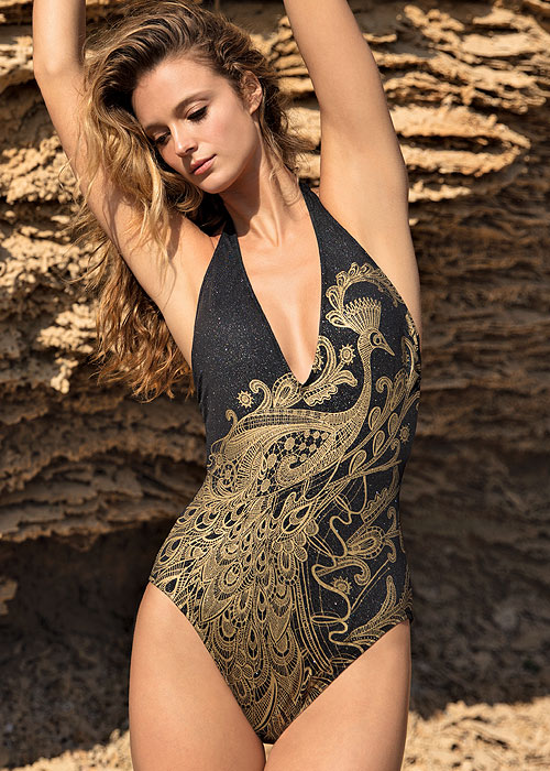 Gottex Couture Golden Treasure V Neck Halter Swimsuit