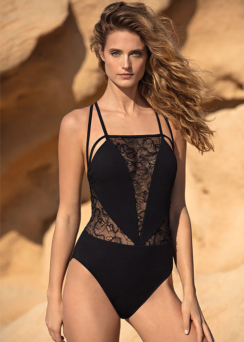Gottex Couture Lace Onyx Square Neck Swimsuit