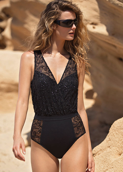 Gottex Couture Lace Onyx V Neck Blouson Swimsuit