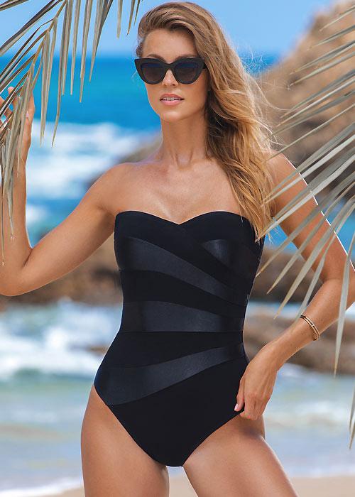 Gottex Cruise Black Tie Bandeau Swimsuit