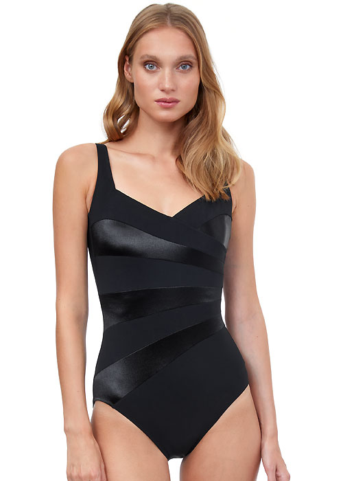 Gottex Cruise Black Tie Shaped Square Neck Swimsuit