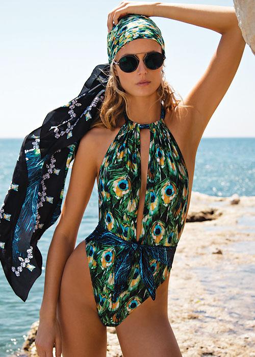 Gottex Pavone Deep Plunge Halter Swimsuit