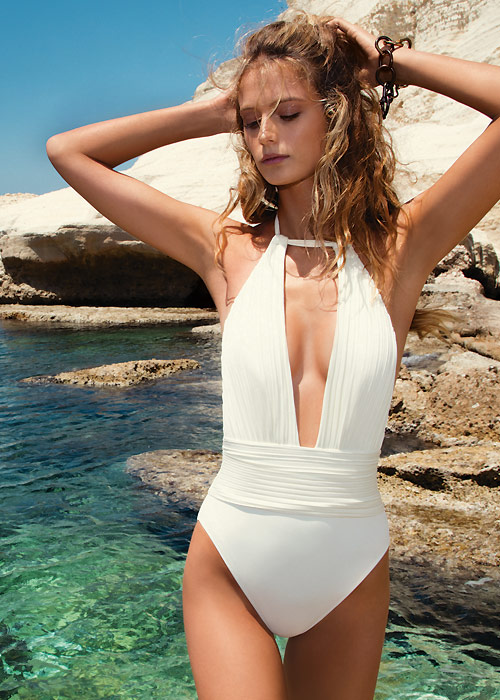 Gottex Pearl Goddess Deep Plunge Halter Swimsuit