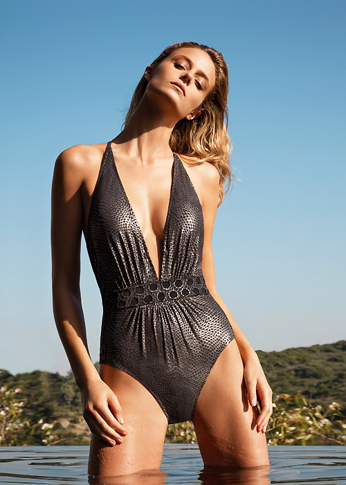 Gottex Jewel Box Platinum Deep Plunge Swimsuit