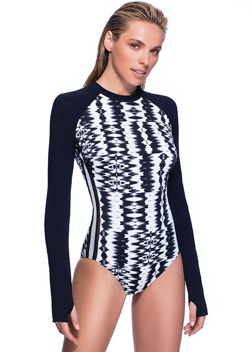 Gottex Profile Sport White Noise Rash Guard Swimsuit