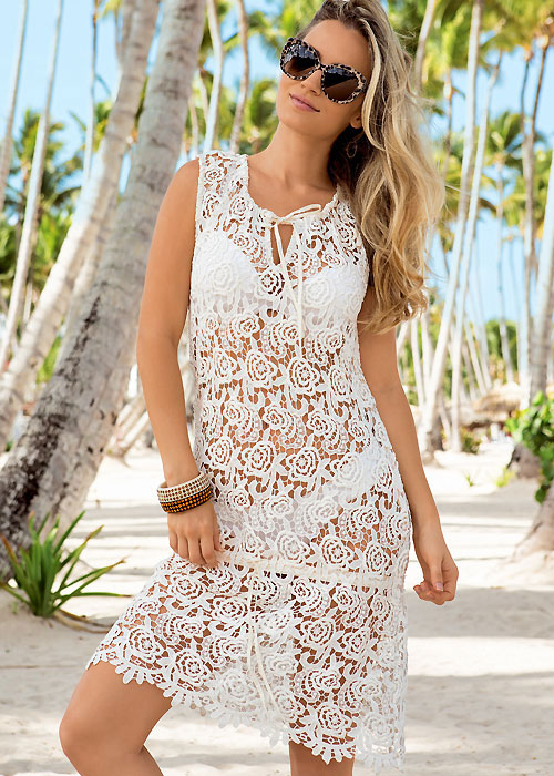 Iconique Bianco Crochet Sun Dress