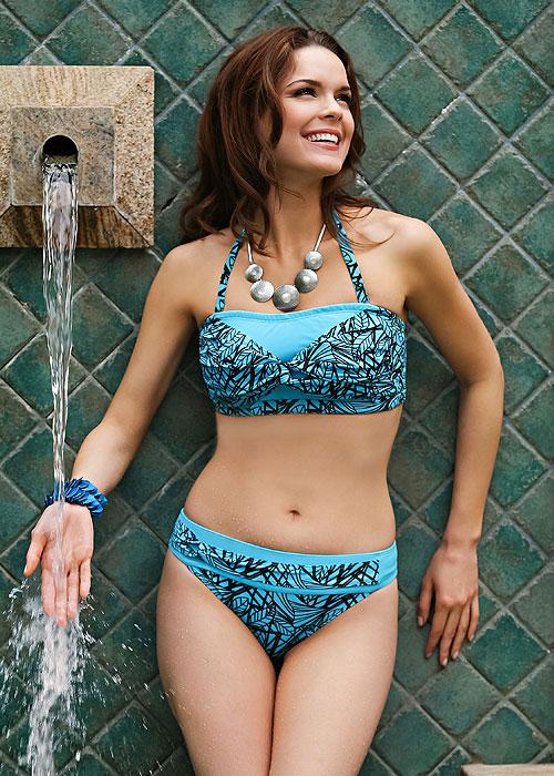 Jamu Ziane Blue Mastectomy Bandeau Bikini