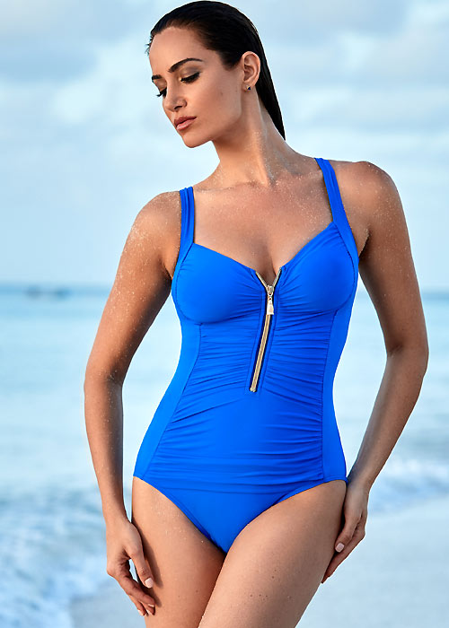 Miraclesuit So Riche Zip Code Blue Swimsuit
