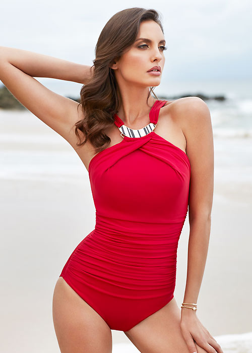 Miraclesuit Summer Solid Bijoux Hi Neck Swimsuit