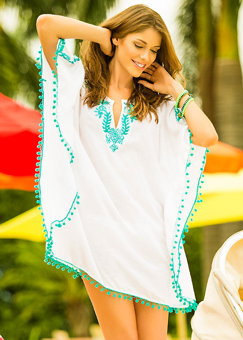 Phax Embroidered Pom Pom Kaftan