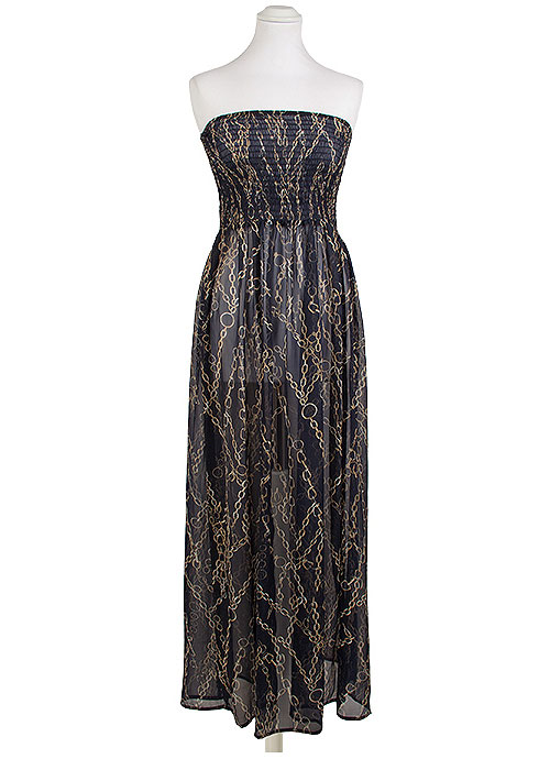 Pia Rossini Fortuna Chain Print Maxi Dress