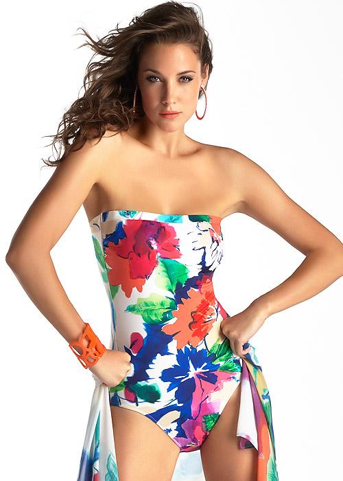 da1594b1075ecc Bright Floral Bisur Bandeau Style Swimsuit By Roidal | UK Swimwear