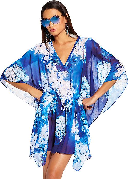 Roidal Blue Flower Eani Poncho