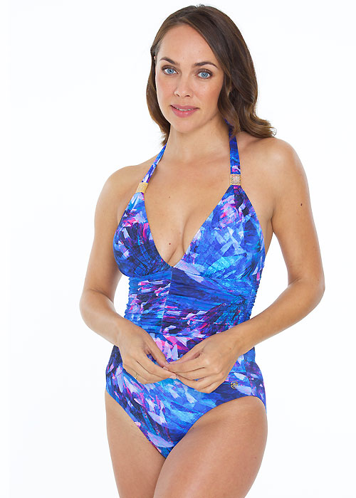 Seaspray Ave Halter Plunge Swimsuit