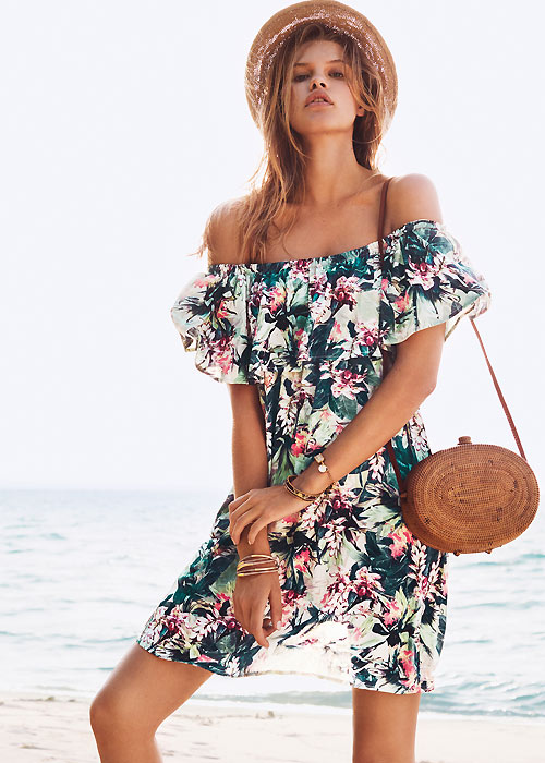 Watercult Floral Camo Jungle Off The Shoulder Dress